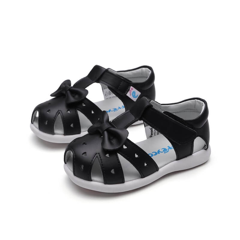Alice toddler sandals black leather with bow side view