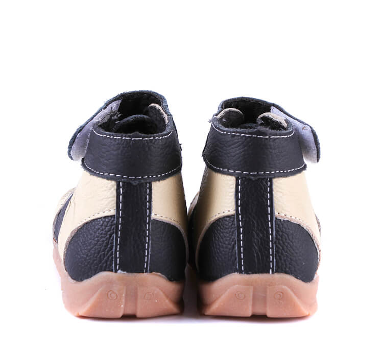 Black Cream Anklebiter Leather Toddler Boots back view
