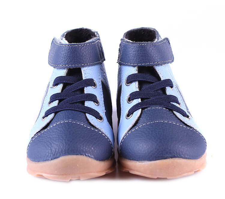 Blue Leather Anklebiter Toddler Boots front view