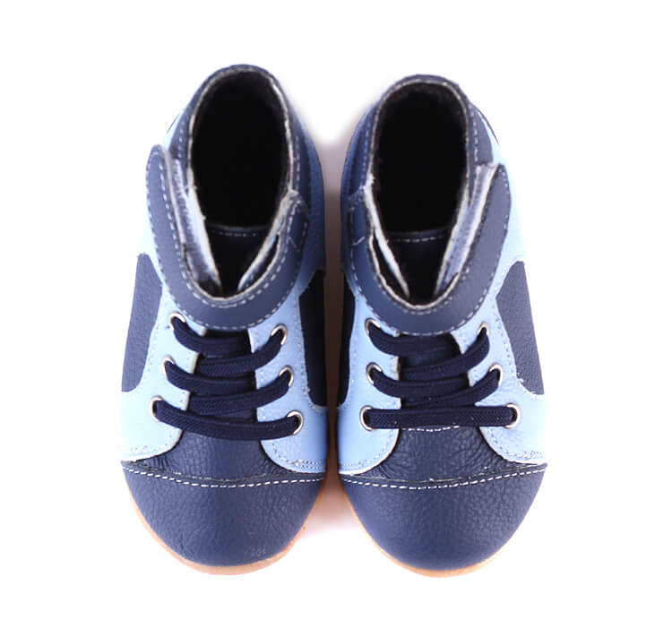 Toddler Boy Boots Anklebiter Blue Leather Boots top view