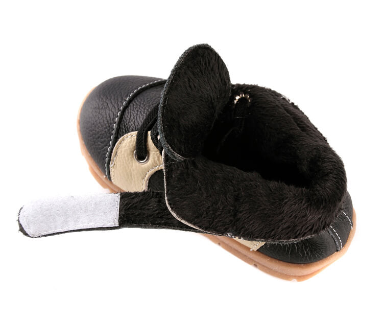 Leather toddler boots with velvet lining for warmth