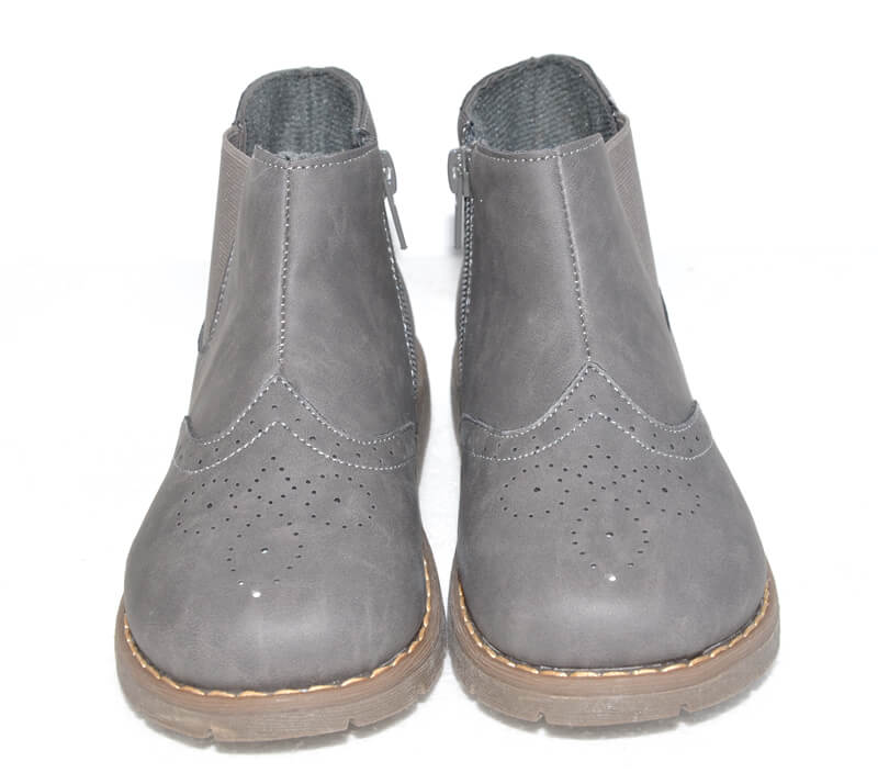 Grey toddler boots kids boots front view