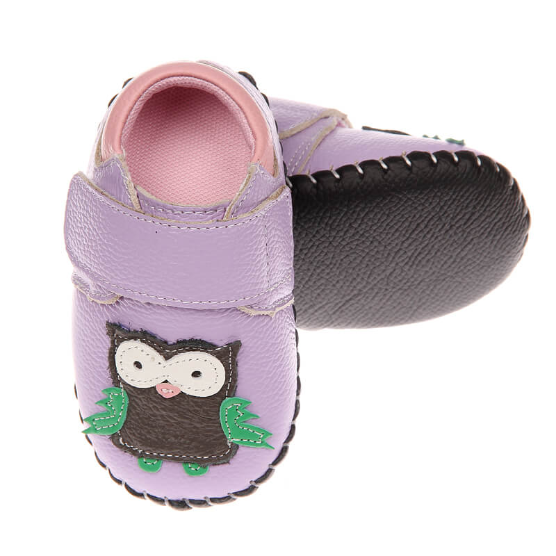 Purple leather first walker baby girl shoes with owl