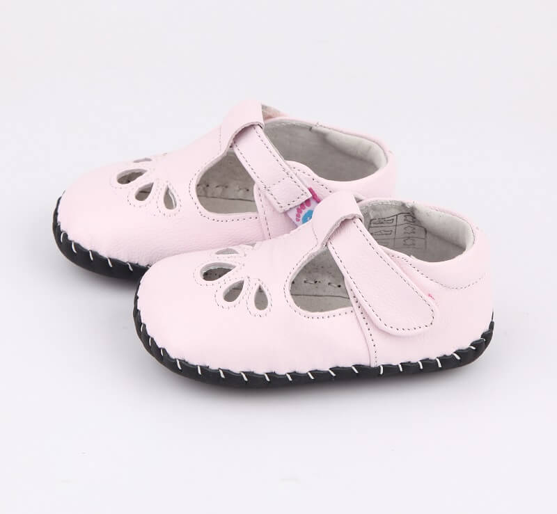 Blush leather baby girls sandals side view