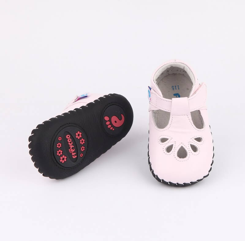 Blush leather baby shoes baby sandals with flexible leather sole