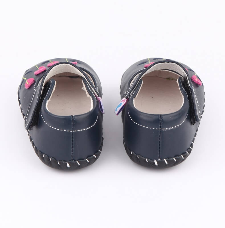 Quality navy leather baby shoes baby girls shoes back view
