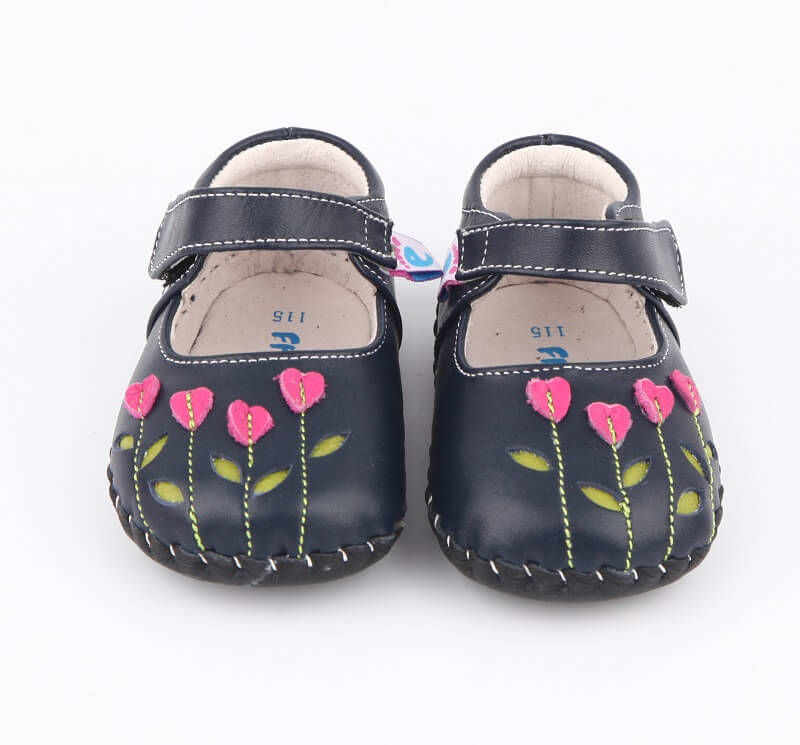 Baby girls shoes genuine leather navy with pink tulips