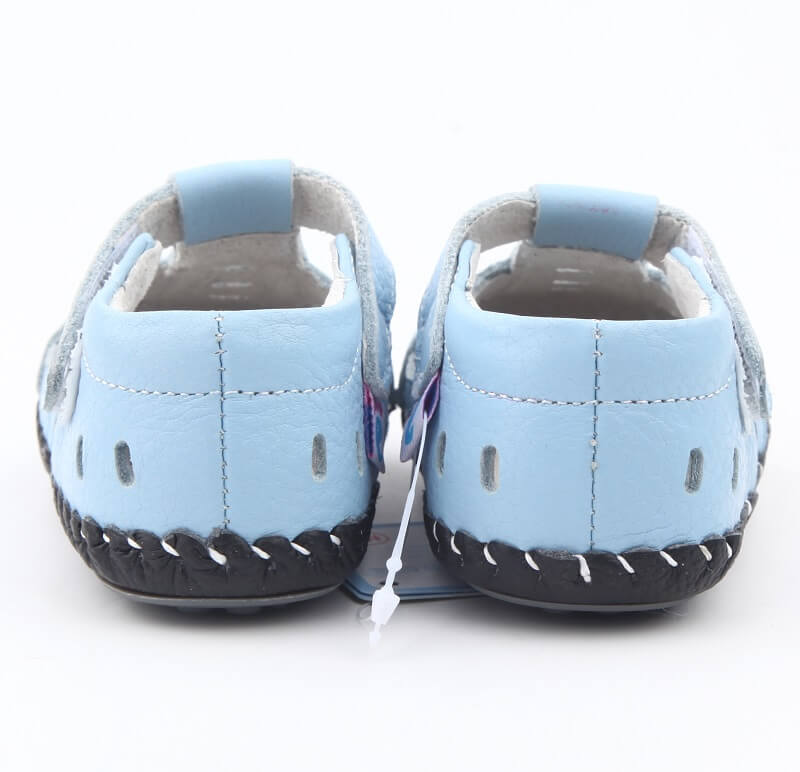 Baby boy sandals light blue leather first walker baby sandals back view