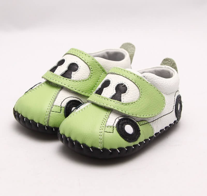 green leather baby boy sneakers car side view