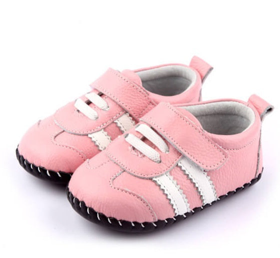 Bella leather baby shoes pink with white stripes