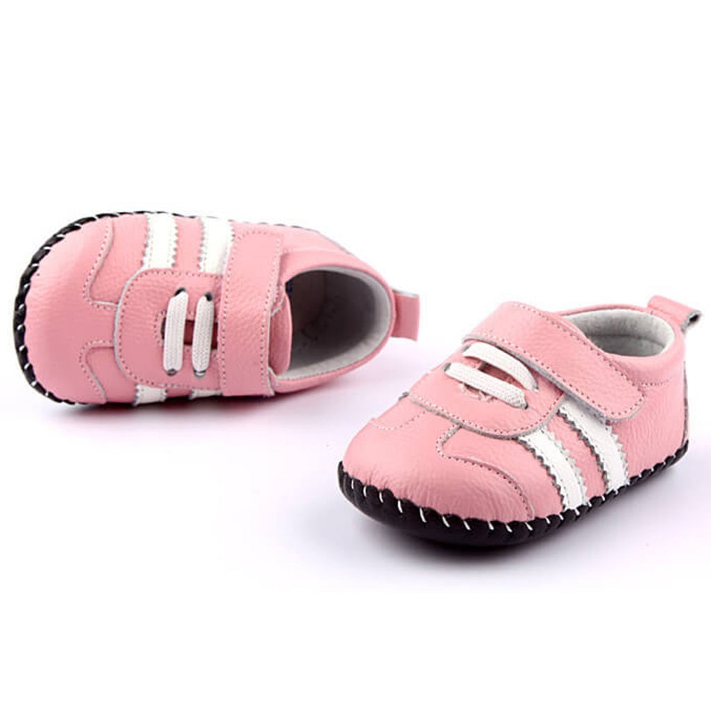 Bianca Baby Girls Leather Shoes Pink with white stripes