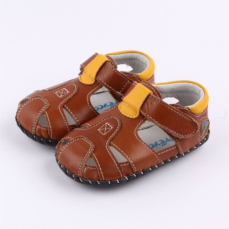Charlie leather baby boy sandals brown with yellow detail