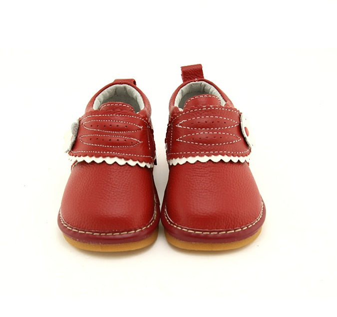Toddler girl sneakers Charlotte red leather toddler shoes front view