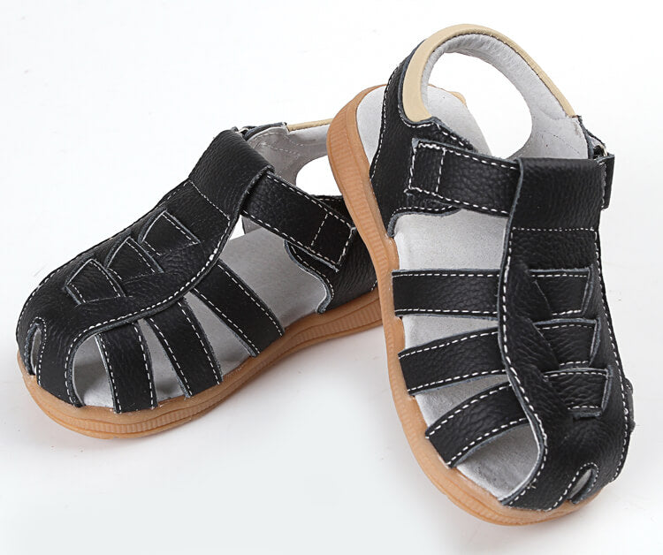 Cobra leather toddler sandals black