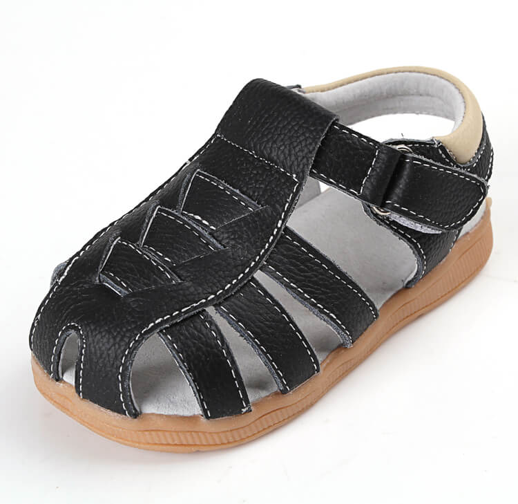 Cobra leather toddler boy sandals black
