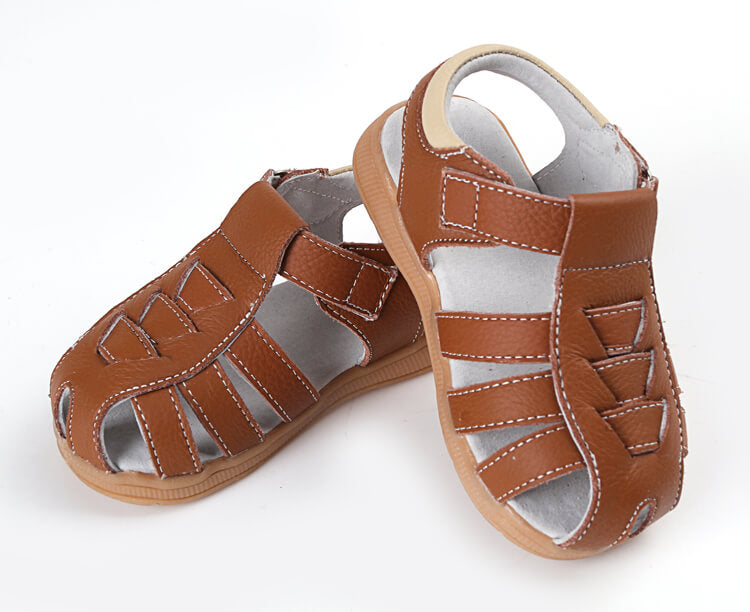 Cobra leather toddler sandals brown