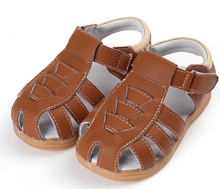 Cobra leather toddler girls and toddler boys sandals brown