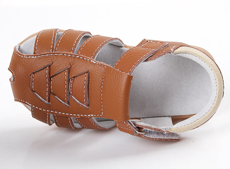 Cobra leather toddler sandals top view
