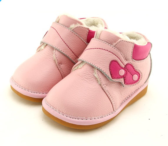 Constance leather toddler girl boots pink with pretty heart detail