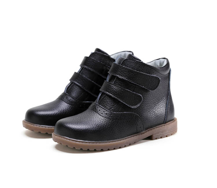 Cozy black leather kids boots school boots