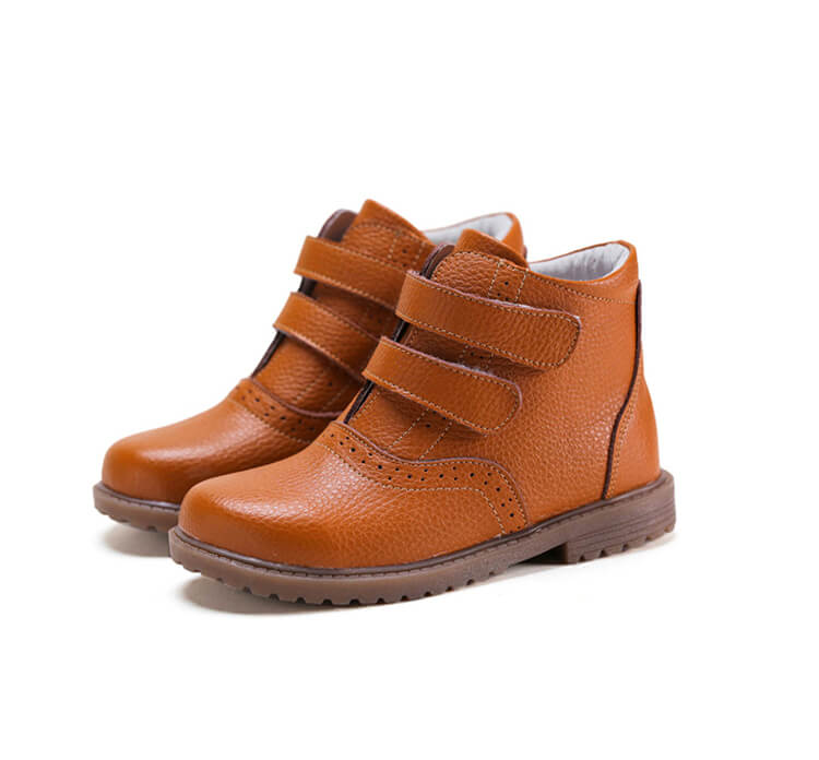 Cozy brown leather kids boots school boots