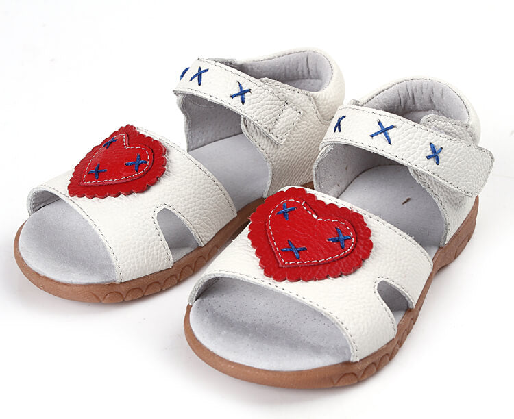 White leather toddler sandals girls sandals Cross my Heart
