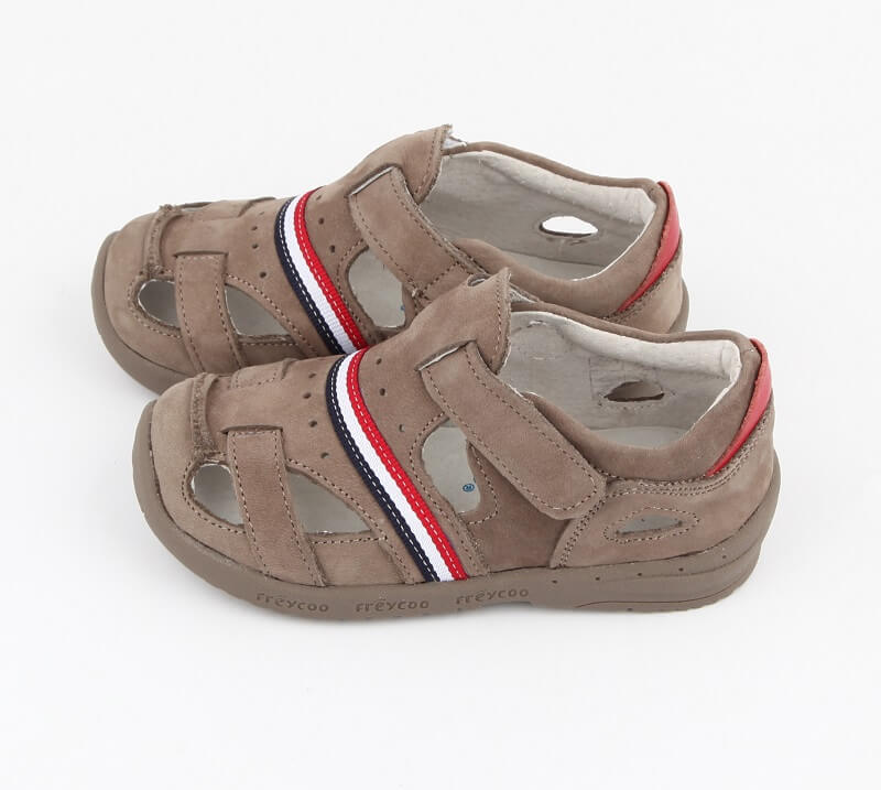 Desert toddler boy sandals grey suede leather with stripes