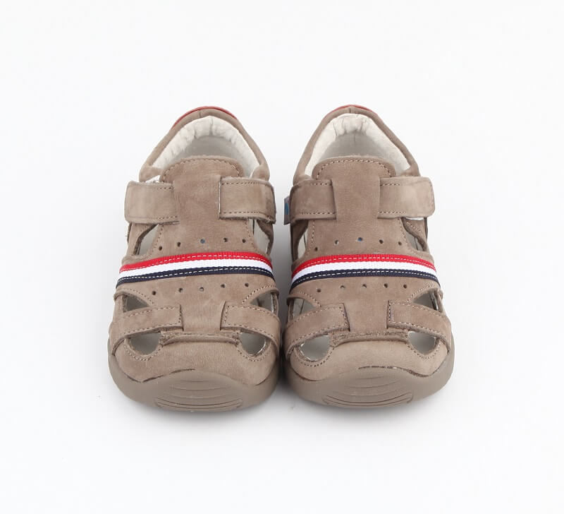 Desert grey leather toddler boy sandals closed toe yet open and breathable