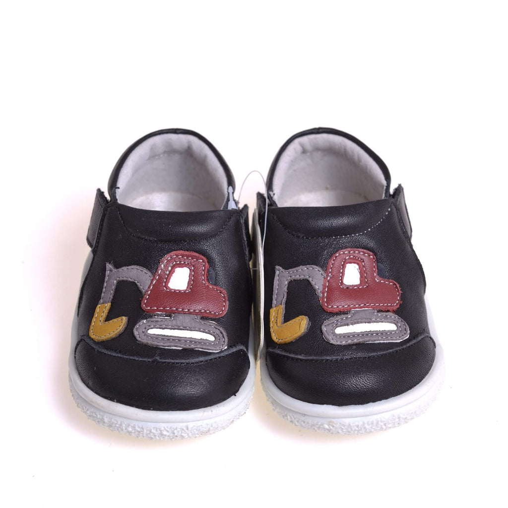 Digger navy baby boys sneakers front view