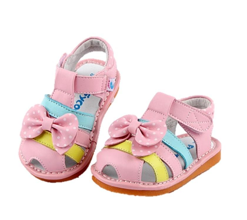 Dotty leather toddler girls sandals pink with bow