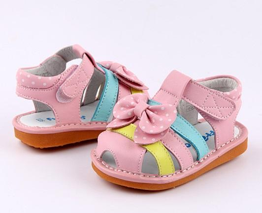 Dotty leather toddler girls sandals pink with bow side view
