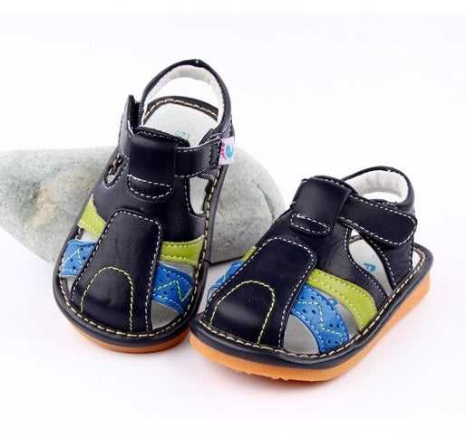 Dune leather toddler sandals navy with blue and green detail on side