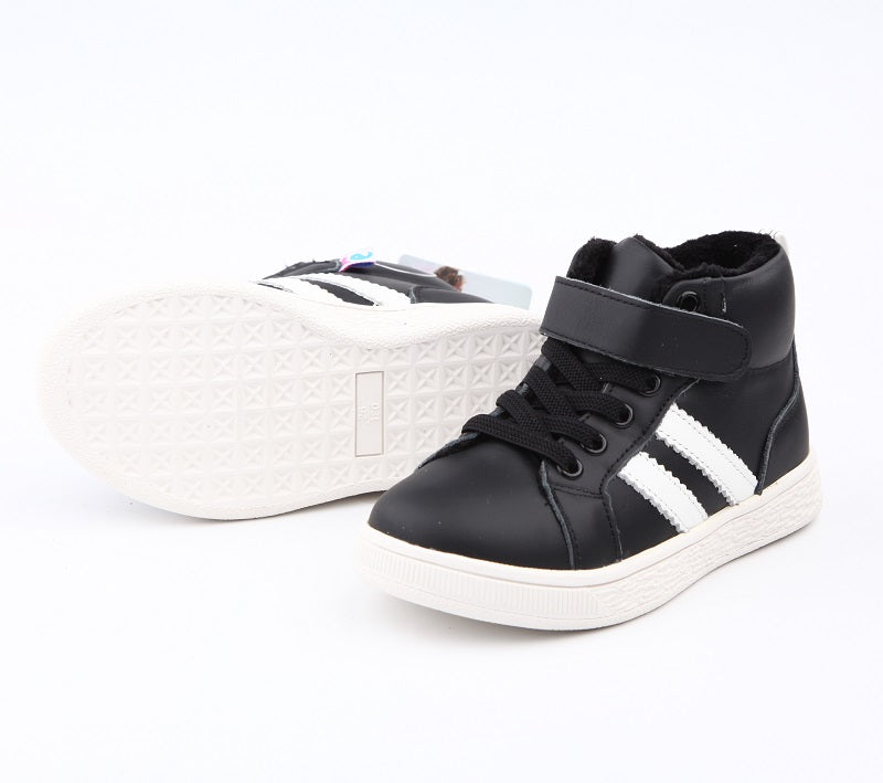 Dunk boys leather boots black with white stripes