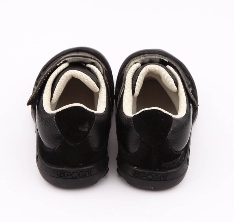 Dylan black leather boys shoes back view