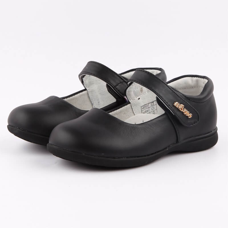 Ella black leather girls mary jane school shoes