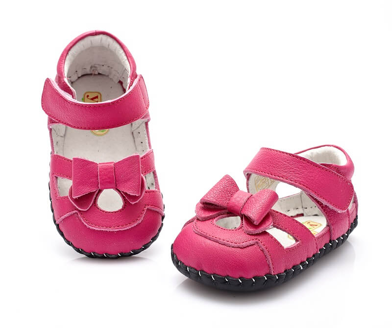 Leather baby girl sandal Emma hot pink sandal with bow front and top view