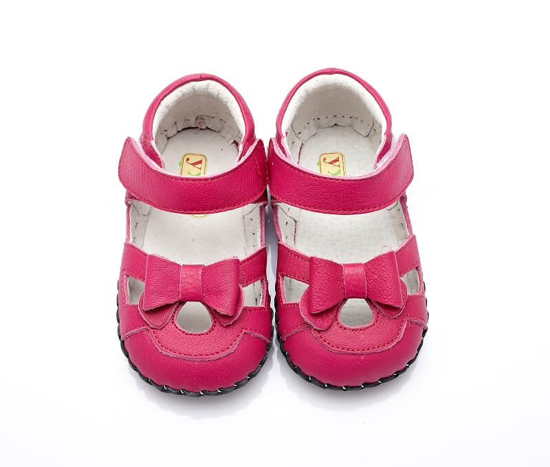 Baby girl sandals Emma hot pink leather baby shoes