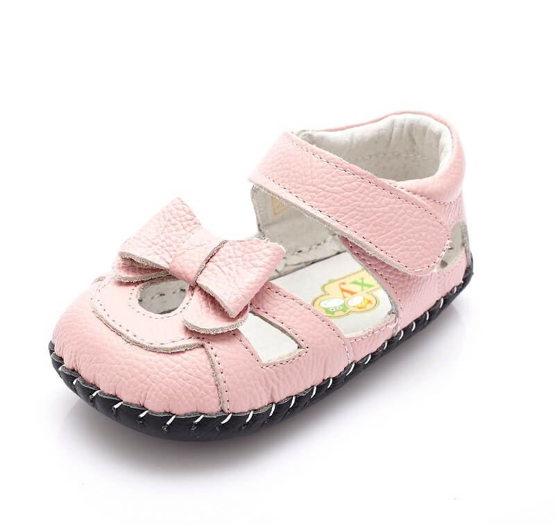 Emma leather baby girl sandals pink with bow