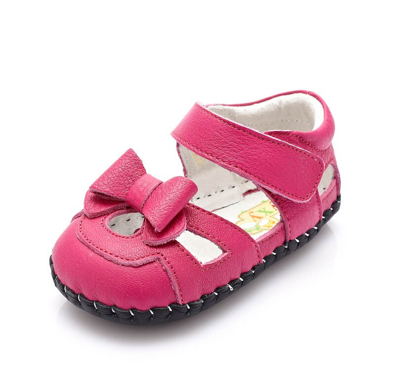 Hot pink infant girls sandals with bow