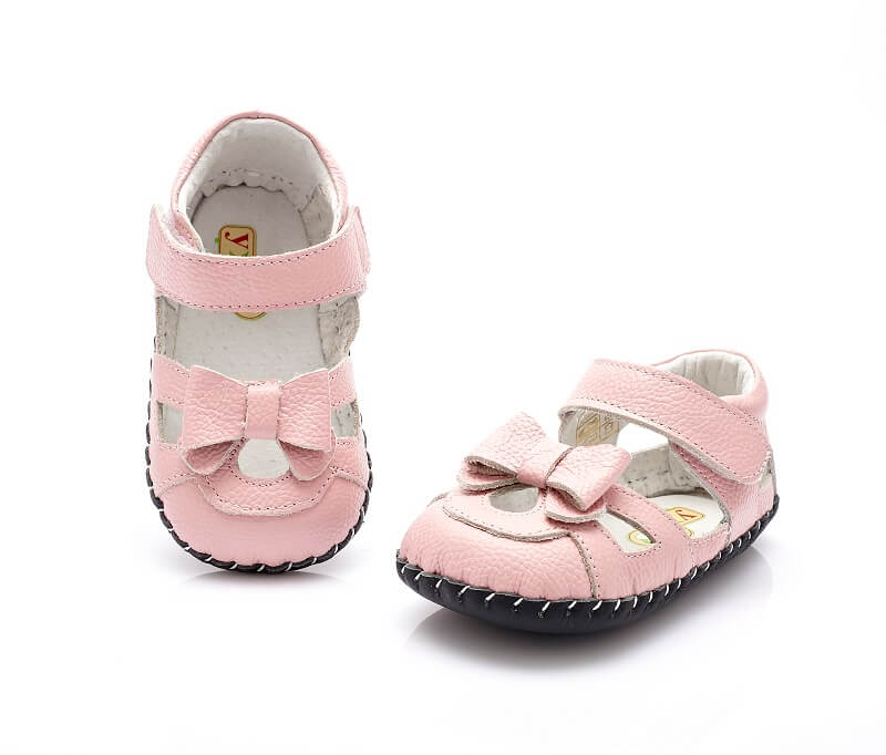 Emma baby sandals pink with bow top and front view