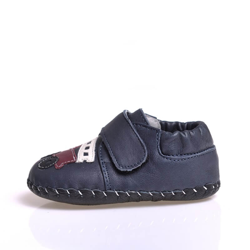 Fire truck navy leather first walker baby sneakers with leather sole