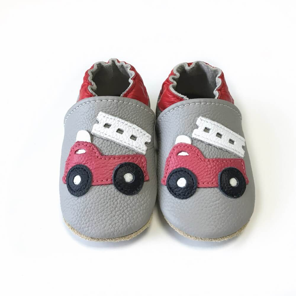 Fire engine leather soft sole baby shoes