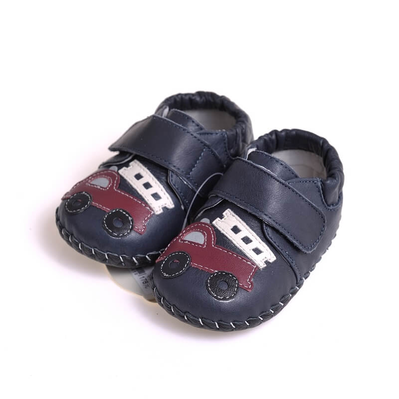 Leather first walker baby boy shoes navy with fire truck