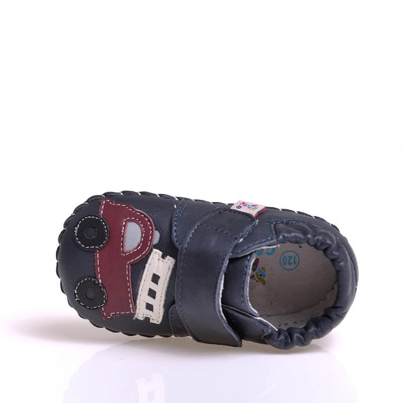 Baby boy sneakers navy leather fire truck top view