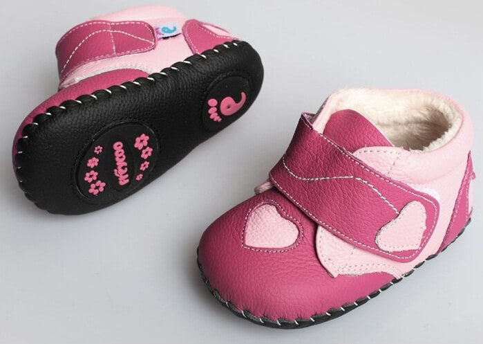Princess of Hearts leather baby boots with flexible non skid leather sole