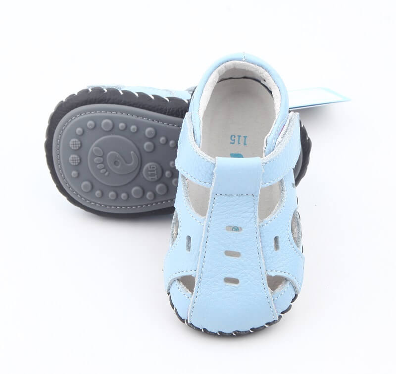 Genuine leather baby sandals thin flexible rubber sole