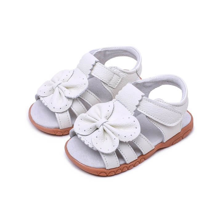 Flutter white leather toddler girl open toe  sandals