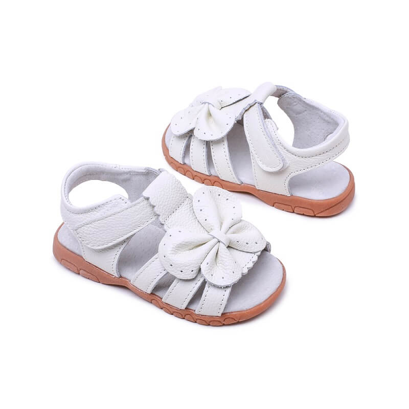 Flutter white toddler girl's sandals perfect for flower girls and weddings
