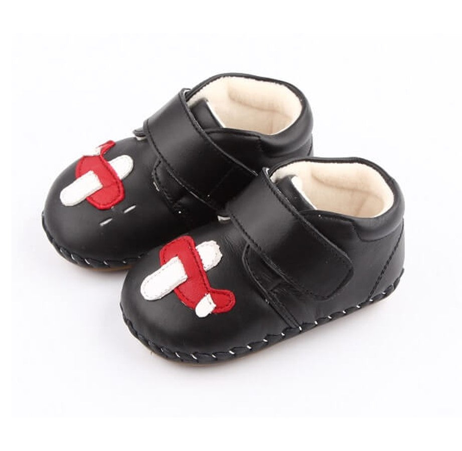 Flying baby boots black leather baby booties with aeroplane