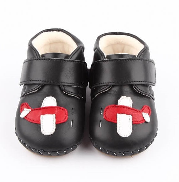 Black leather baby boots with aeroplane first walker baby boots